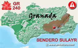 Mapa de Andalucía con la situación del tramo 2 del Sendero GR240 Sulayr