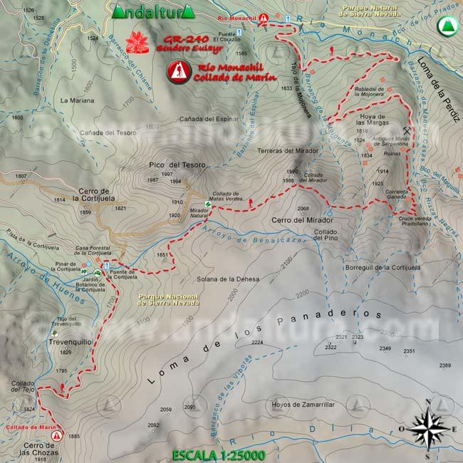 Mapa del tramo desde el río Monachil al Collado de Marín, del GR240 Sendero Sulayr