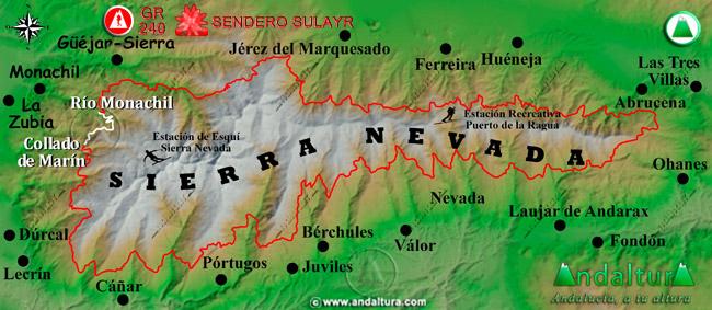 Mapa de Sierra Nevada donde se indica el tramo 1 entre el rio Monachil y el Collado de Marín