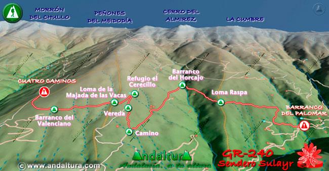 Mapa en relieve sobre el recorrido del tramo 21 del Gran Recorrido GR-240