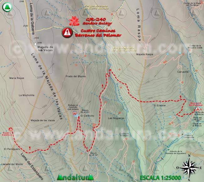 Mapa del tramo 21 del Sendero Sulayr, GR 240, entre Cuatro Caminos y el Barranco del Palomar