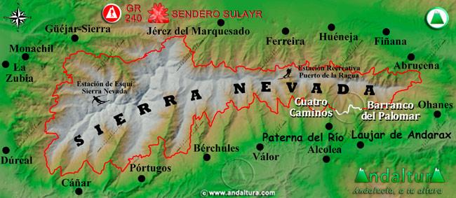Mapa de Sierra Nevada donde se indica el tramo 21 entre Cuatro Caminos y el Barranco del Palomar