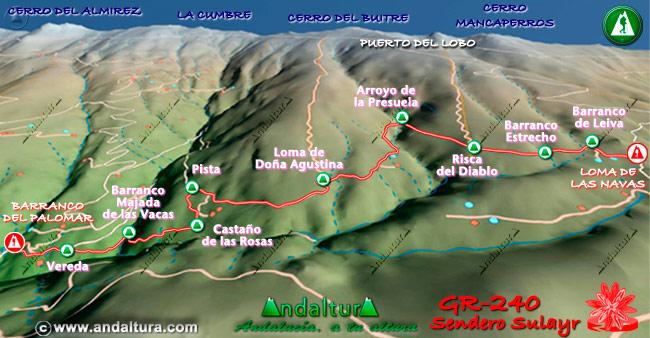 Mapa en relieve sobre el recorrido del tramo 22 del Gran Recorrido GR-240