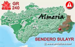 Mapa de Andalucía con la situación del tramo 22 del Sendero GR240 Sulayr