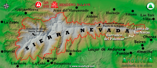 Mapa de Sierra Nevada donde se indica el tramo 22 entre el Barranco del Palomar y la Loma de las Navas