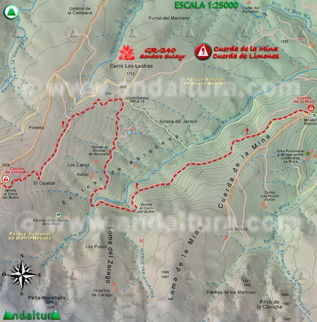 Mapa del tramo 26 del Sendero Sulayr, GR 240, entre la Cuerda de la Mina y la Cuerda de Limones