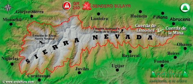 Mapa de Sierra Nevada donde se indica el tramo 26 entre la Cuerda de la Mina y la Cuerda de Limones