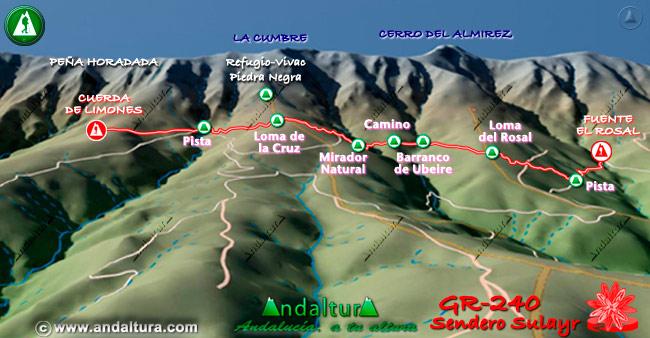 Mapa en relieve sobre el recorrido del tramo 27 del Gran Recorrido GR-240