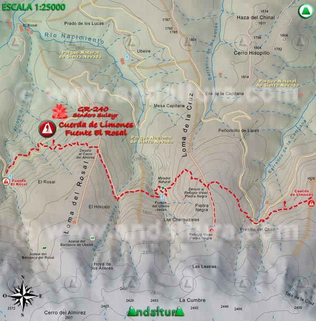 Mapa del tramo 27 del Sendero Sulayr, GR 240, entre la Cuerda de Limones y la Fuente El Rosal
