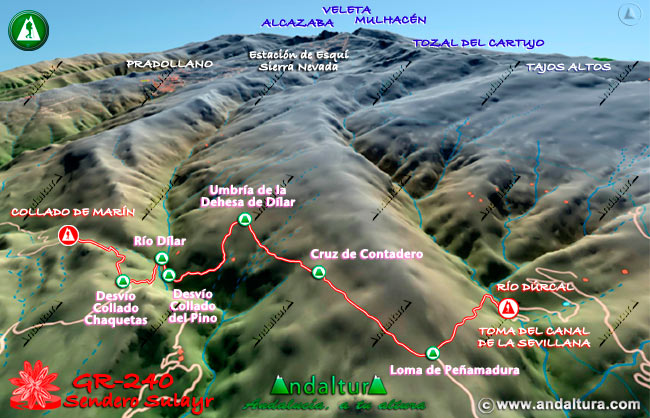 Mapa en relieve sobre el recorrido del tramo 3 del Gran Recorrido GR-240