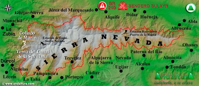 Mapa de Sierra Nevada donde se indica el tramo 3 entre el Collado de Marín y la Toma del Canal de la Sevillana
