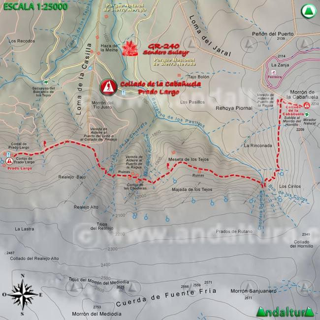 Mapa del tramo 31 del Sendero Sulayr, GR 240, entre el Collado de la Cabañuela y Prado Largo