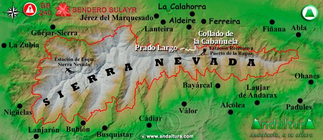 Mapa de Sierra Nevada donde se indica el tramo 31 entre el Collado de la Cabañuela y Prado Largo