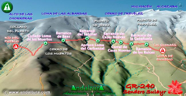 Mapa en relieve sobre el recorrido del tramo 34 del Gran Recorrido GR-240