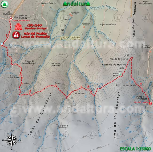 Mapa del tramo 34 del Sendero Sulayr, GR 240, entre el Río del Pueblo y la Loma de Enmedio