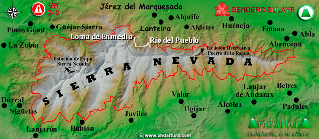 Mapa de Sierra Nevada donde se indica el tramo 34 entre el Río del Pueblo y la Loma de Enmedio