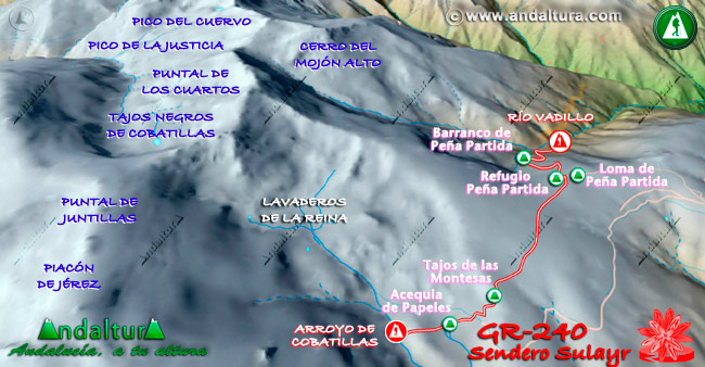 Primer Mapa en relieve sobre el recorrido del tramo 37 del Gran Recorrido GR-240
