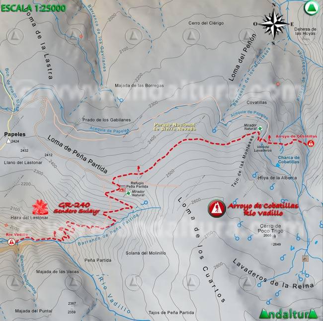 Mapa del tramo 37 del Sendero Sulayr, GR 240, entre el Arroyo de Cobatillas y el Río Vadillo
