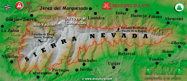 Mapa de Sierra Nevada donde se indica el tramo 37 entre el Arroyo de Cobatillas y el Río Vadillo