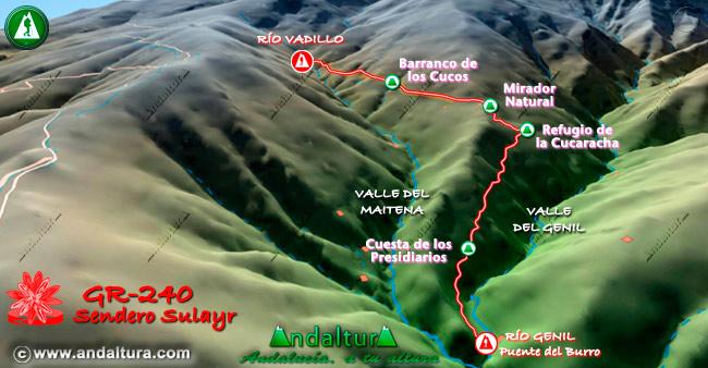 Mapa en relieve sobre el recorrido del tramo 38 del Gran Recorrido GR-240
