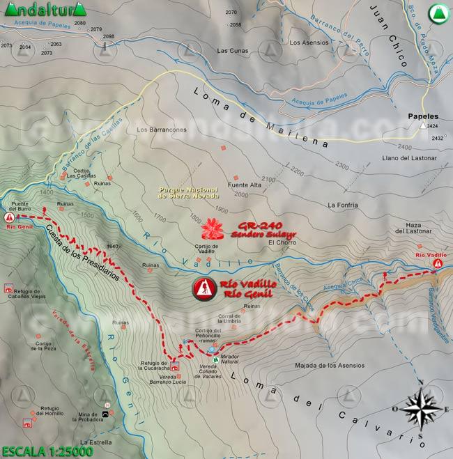 Mapa del tramo 38 del Sendero Sulayr, GR 240, entre los Ríos Vadillo y Genil
