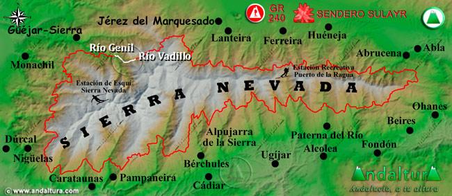 Mapa de Sierra Nevada donde se indica el tramo 38 entre el Río Vadillo y el Río Genil