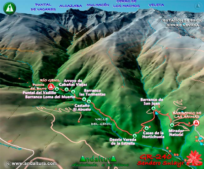 Mapa en relieve sobre el recorrido del tramo 39 del Gran Recorrido GR-240
