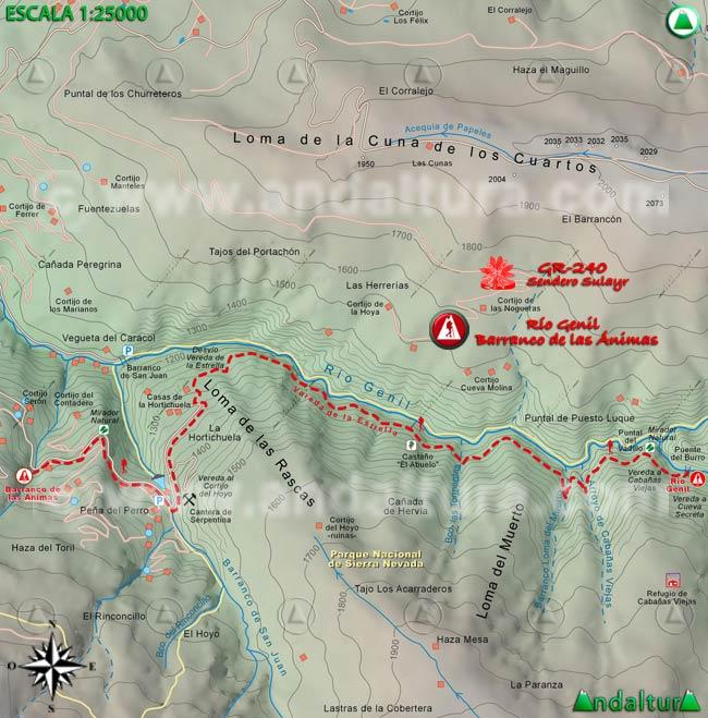 Mapa del tramo 39 del Sendero Sulayr, GR 240, entre el río Genil y el Barranco de las Ánimas