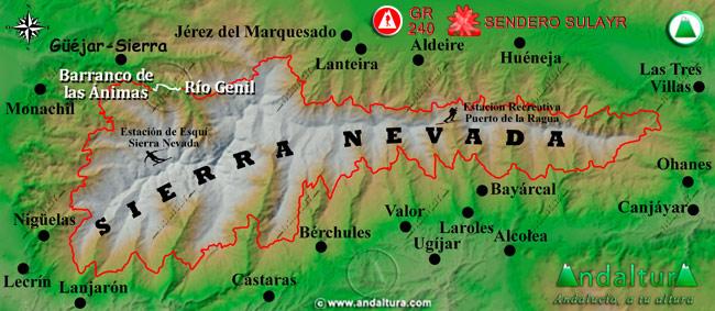 Mapa de Sierra Nevada donde se indica el tramo 39 entre el Río Genil y el Barranco de las Ánimas
