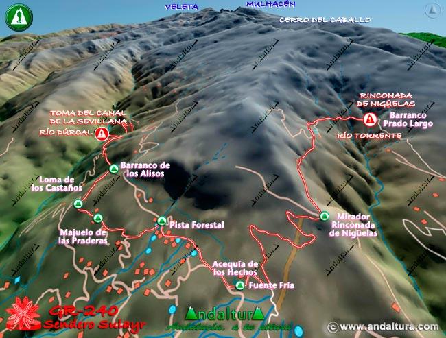 Mapa en relieve sobre el recorrido del tramo 4 del Gran Recorrido GR-240