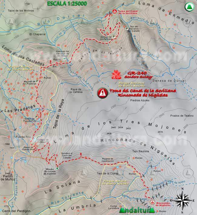 Mapa del tramo desde la Toma del Canal de Sevillana a la Rinconada de Nigüelas, del GR240 Sendero Sulayr