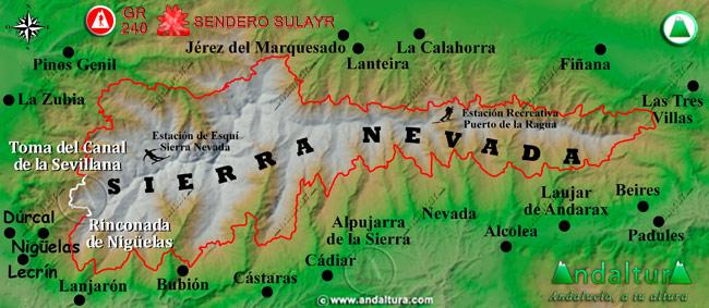 Mapa de Sierra Nevada donde se indica el tramo 4 entre la Toma del Canal de la Sevillana y la Rinconada de Nigüelas