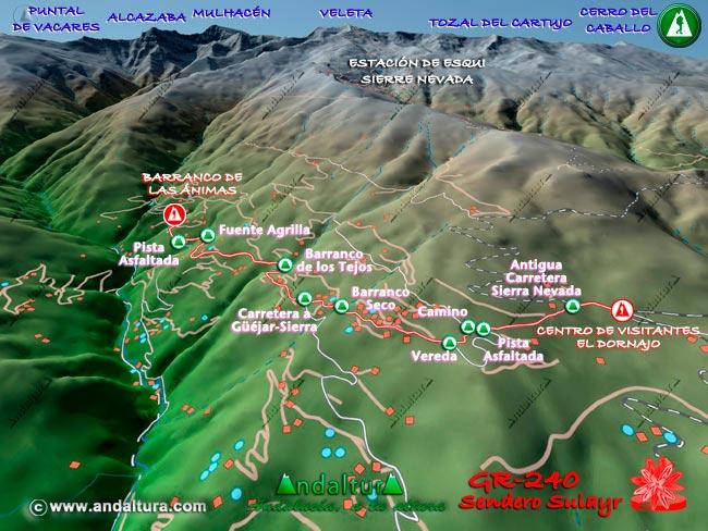 Mapa en relieve sobre el recorrido del tramo 40 del Gran Recorrido GR-240