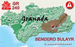 Mapa de Andalucía con la situación del tramo 40 del Sendero GR240 Sulayr