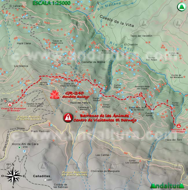 Mapa del tramo 40 del Sendero Sulayr, GR 240, entre el Barranco de las Ánimas al Centro de Visitantes El Dornajo
