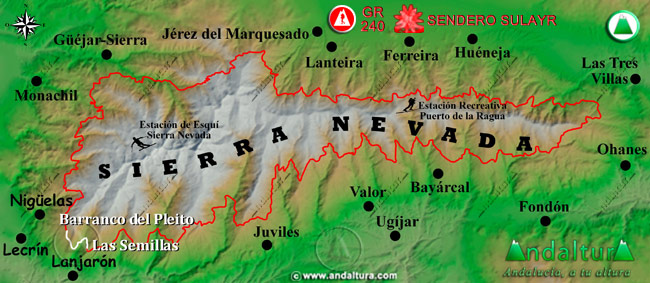 Mapa de Sierra Nevada donde se indica el tramo 6 entre el Barranco del Pleito y Las Semillas