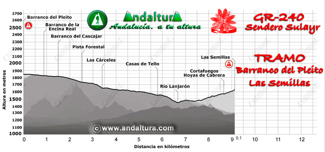 Perfil del recorrido del tramo 6 desde el Barranco del Pleito a Las Semillas