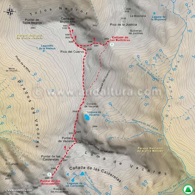 Mapa sexto de la Integral de Sierra Nevada, desde el Puntal de los Acucaderos al Collado de las Buitreras