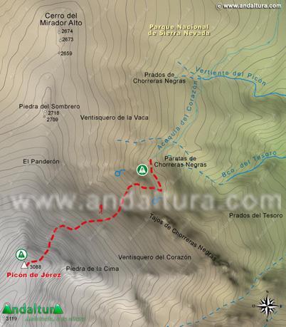 Mapa descenso Picón de Jérez al PR-A344 para descender a Jérez del Marquesado