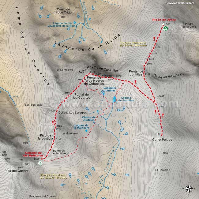 Mapa octavo de la Integral de Sierra Nevada, desde el Collado de las Buitreras y el Picón de Jérez