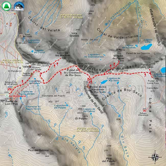 Mapa cuarto de la Integral de Sierra Nevada, desde La Carihuela a Loma Pelá