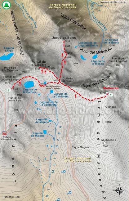 Mapa quinto de la Integral de Sierra Nevada, desde el collado de Loma Pelá hasta el Mulhacén