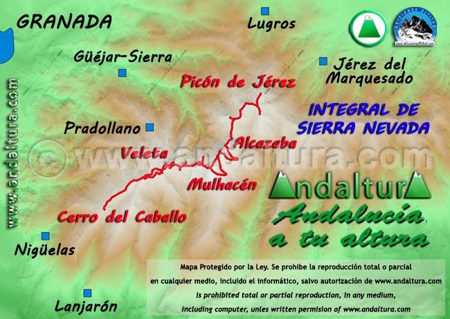 Mapa de la Ruta de la Integral de Sierra Nevada