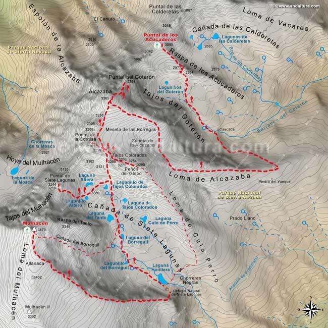 Mapa sexto de la Integral de Sierra Nevada, desde el Mulhacén al Puntal de los Acucaderos, por la Cañada de 7 Lagunas a la Alcazaba