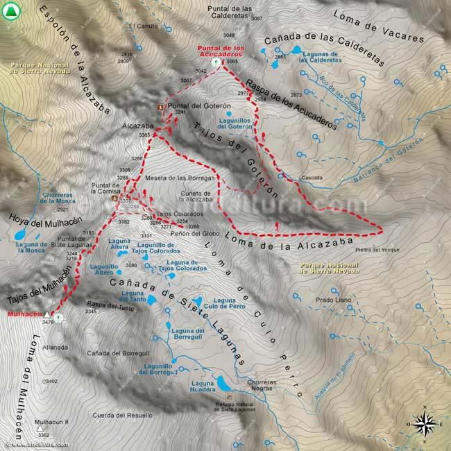 Mapa sexto de la Integral de Sierra Nevada, desde el Mulhacén al Puntal de los Acucaderos, por la Arista a la Alcazaba