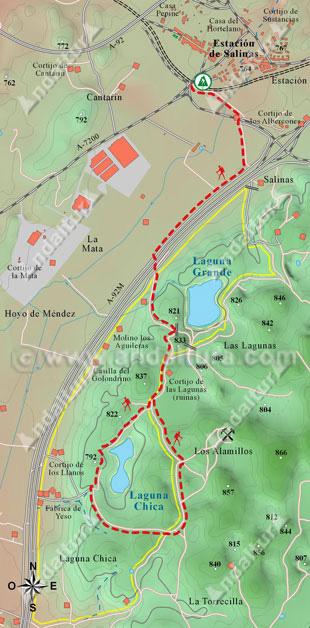 Mapa de senderismo por las Lagunas de Arhidona