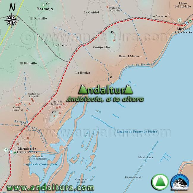 Mapa de Senderismo y BTT por Fuente de Piedra, zona oeste de la Reserva Natural Fuente de Piedra
