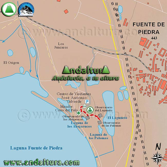 Mapa de la Ruta del Laguneto, a escala 1:10000 por los alrededores del Centro de Visitantes José Antonio Valverde
