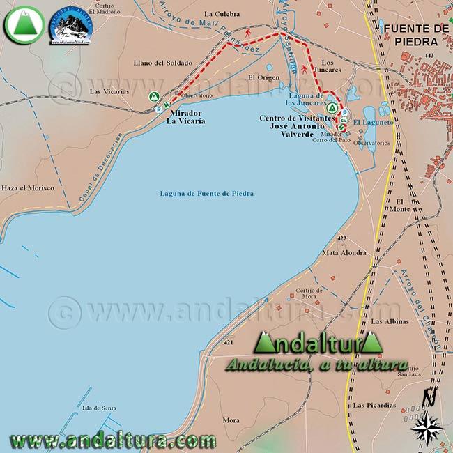 Mapa de Senderismo para recorrer el Sendero de las Albinas, dentro de la Reserva Natural Fuente de Piedra