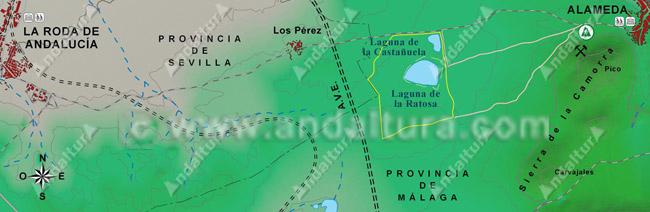 Mapa de Situación de la Reserva Natural Laguna de la Ratosa, entre Alameda (Málaga) y la Roda de Andalucía (Sevilla)